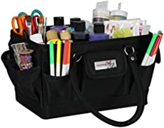 Everything Mary Black Deluxe Store and Tote Bag - Storage Craft Bag for Crafts, Sewing, Paper, Art, Desk, Canvas, Supplies Storage Organization with Handles for Travel