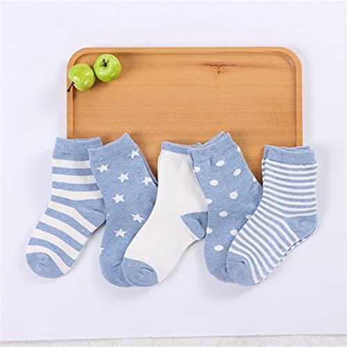 OUBALA 5 Pares de Calcetines de algodón Suave para niños (Color : Blue, Size : SS (0 1 Years))