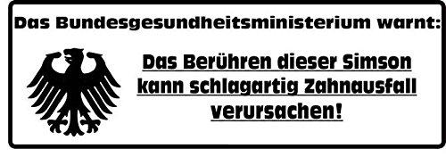 Unbekannt Aufkleber: Das Berühren Dieser Simson Kann Zahnausfall verursachen 2-er Set! Moped Sticker JDM Fun S50 S51 DDR Oldschool
