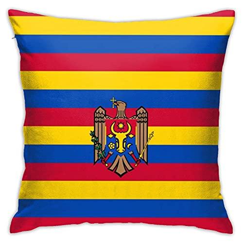 N\A Originalität Moldawien Flagge Kissenbezüge Dekorative quadratische Kissenbezug Weiche solide Kissenbezug für Sofa Schlafzimmer Auto