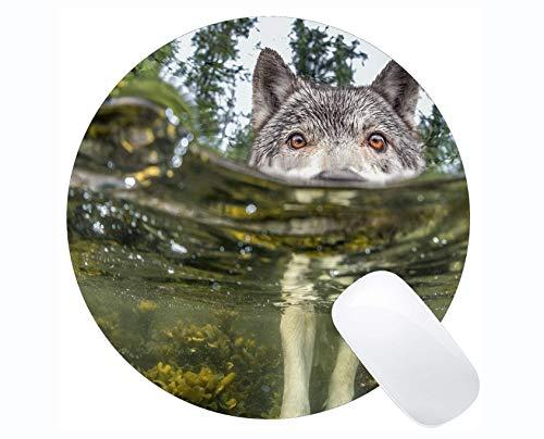 Rundes Mauspad, Wasserwolf-Mauspads für Computer Laptop 230 mm x 230 mm x 3 mm)