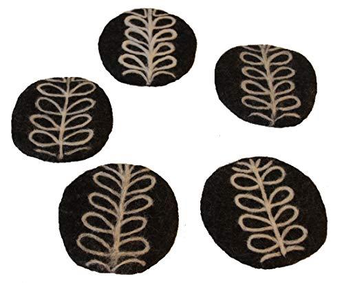 Maharanis Fairtrade 5er Set Untersetzer Filzuntersetzer Glasuntersetzer Coaster anthrazit bestickt