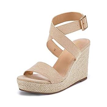 Womens Wedge Platform Espadrille Cross Ankle Strap Slingback Open Toe Summer High Heel Casual Sandals