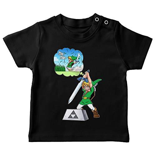 Okiwoki T-Shirt bébé Noir Parodie Zelda - Link et Excalibur - Une épée Bien Mal exploitée. ^^ (T-Shirt de qualité Premium de Taille 12 Mois - imprimé en France)