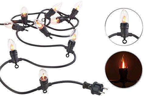 Lunartec flackernde Lichterkette: Deko-Lichterkette mit 10 Glühbirnen in Flammen-Optik, IP44, 4,2 m (Lichterkette Kaminfeuer)