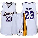 RL Lakers 23# James Gilet De Sport Short Basketball Jersey Ensemble Deux PièCes, Homme sans Manches T-Shirt, Enfant Manche Courte, Femmes Sweat-Shirt(2XS-5X),Blanc,Large
