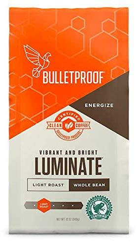 Bulletproof Luminate Whole Bean Coffee, Light Roast, 12 Oz, Keto Friendly, Certified Clean Coffee, Rainforest Alliance, Whole Bean