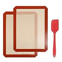 gwhole 2 pz tappetino da forno in silicone con 1 spatola per teglia da forno, foglio da forno in silicone per forme di cottura, antiaderente, resistente al calore, riutilizzabile