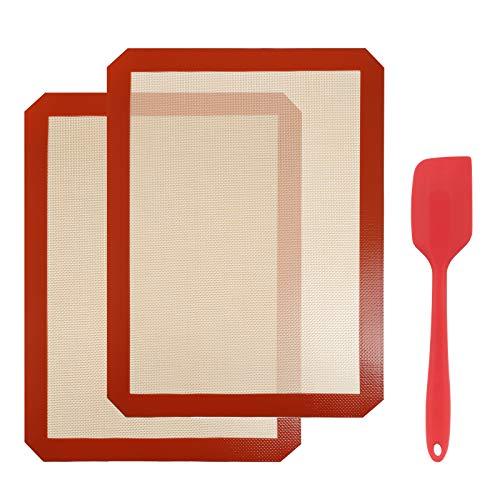 Gwhole 2 Pezzi Tappetini da Forno in Silicone 40 cm x 30 cm e 1 Spatola da 27 cm, Teglia da Forno Antiaderente