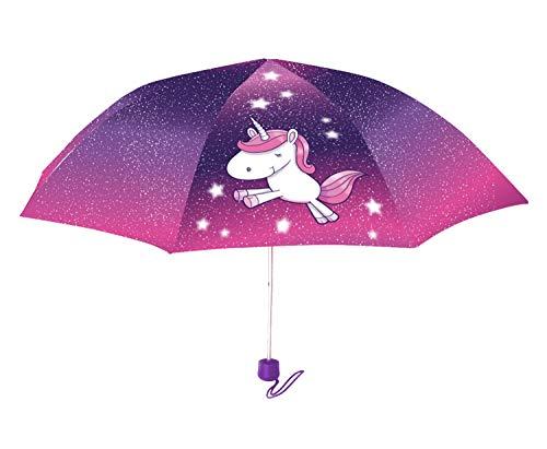 POS 28281 - Taschenschirm mit niedlichem Einhorn Motiv, Regenschirm für Mädchen, mit manueller Öffnung, windfest, ideal für Unterwegs, den Ranzen oder die Handtasche