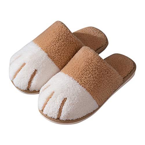 Yimixz Fuzzy Animal Slippers for Women Cute Plush Womens House Shoes Cat Paw Pattern