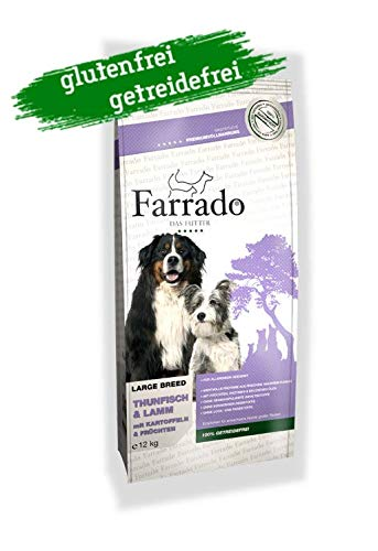 Farrado Lamm & Thunfisch - Hundetrockenfutter für ausgewachsene Hunde Aller Rassen - getreidefrei, glutenfrei, zuckerfrei (12kg)
