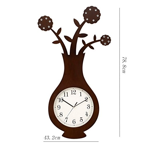 Dongy 3D wandklok houten vaas bloempot klok retro vintage grote klok niet tikken stille stille muur klok