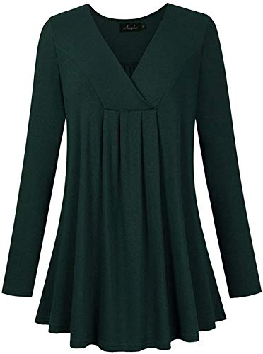 AMZ PLUS Women's Plus Size Pleated V-Neck Henley Tops Flowy Loose Blouse Casual Tunic T Shirt Solid Color Long Sleeves Green 2XL