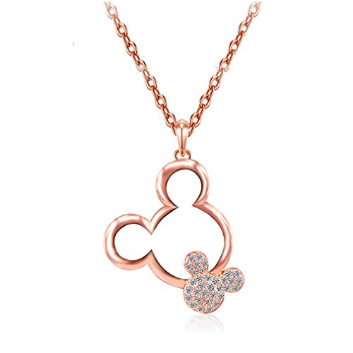 Mall of Style Rose Gold Mickey Ears Necklace for Women/Girls - Rhinestone Minnie Mouse Jewelry (Rose Gold)
