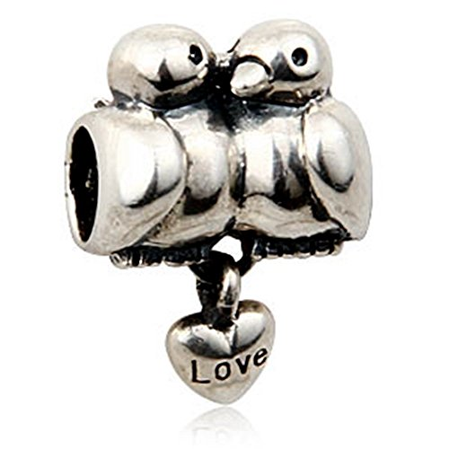 Love Birds w/Dangling Heart Charm - 925 Sterling Silver Pendant Beads - Fit for DIY Charms Bracelets
