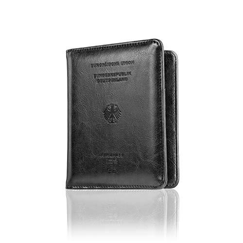 CALIPSO Reisepasshülle - Reisepass RFID Designer Travel Wallet - Praktischer Passport Cover mit Fächern für Impfpässe & Co - Reiseorganizer | Etui (Schwarz)