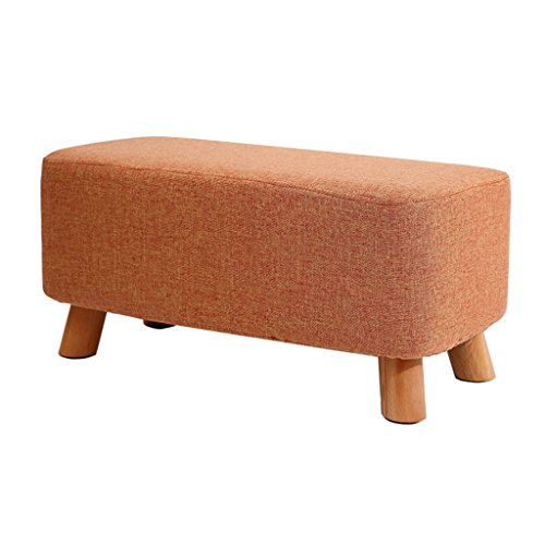 Footstool Change Shoe Bench Stool Upholstered Ottoman Makeup Stool Linen Fabric Seat Cushion with 4 Wood Legs,Orange Sofa Stool for Hallway Living Room,with Washable Cover,60x28.5x28.5cm
