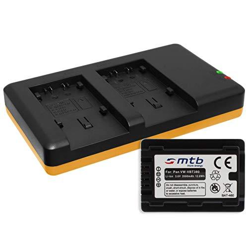 Akku [3560mAh] + Dual-Ladegerät (USB) für VW-VBT380 / Panasonic HC-VX989. / HC-W570, W850, WX979. s. Liste! mit Infochip (Akkulaufzeitanzeige unterstützt)