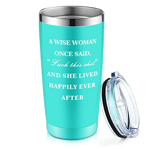 A WISE WOMEN ONCE SAID, AND SHE LIVED HAPPY EVER AFTER Wine Tumbler Birthday Gift for Women Graduation Gifts for Teacher Best Friends Her Wife Mom 20oz Stemless Insulated Cup