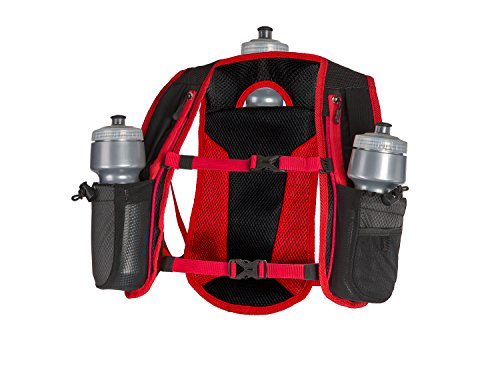 SLS3 Running Vest - Hydration Pack - Hydration Water Vest for Running with 3 Water Bottles (72oz) | Small Ultra Trail Backpack Designed by Athletes for Athletes red