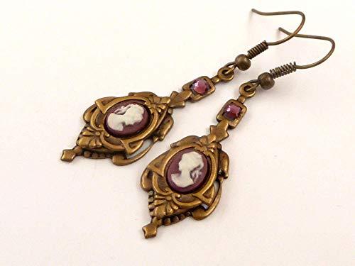 Kamee Ohrringe im Antik Stil, 2 Farben zur Auswahl