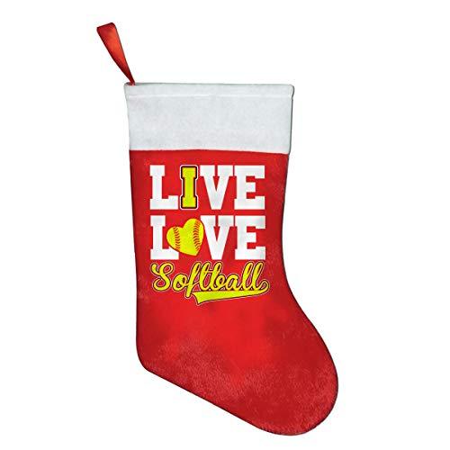 SLDIQIWL Weihnachtsstrümpfe, süße Weihnachtsstrümpfe, Live Love, Softball, Baseball, Weihnachtsmann-Socken für Weihnachten, Kostüm-Dekoration