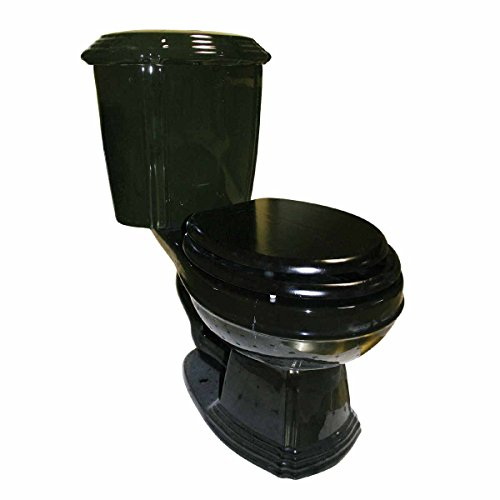 Black Dual Flush Two- Piece Elongated Toilet Grade A Vitreous China Quiet Gravity Flush 31-1/4 Inch Tall X 27-1/2 Inch Projection