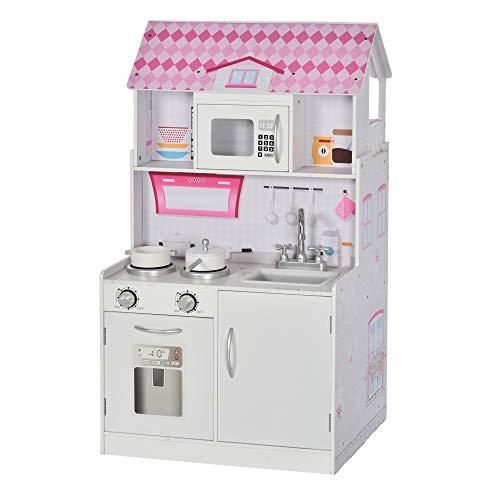 homcom 2 in 1 Cucina Giocattolo Casa delle Bambole in Legno per Bambini da 3 Anni, Realistica con 12...