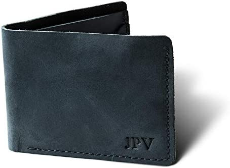Pegai Personalized Minimalist Classic Bill fold Wallet Distressed Leather Wallet Bureau Charcoal product image