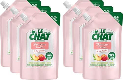 Le Chat - Recharge Savon Mains Douceur Fruitée - Testé dermatologiquement - Formule Vegan - PH Neutre - 94% d'ingrédients d'origine naturelle - Recharge 500 ml - Pack de 6