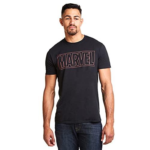Marvel Outline Logo Camiseta, Negro...