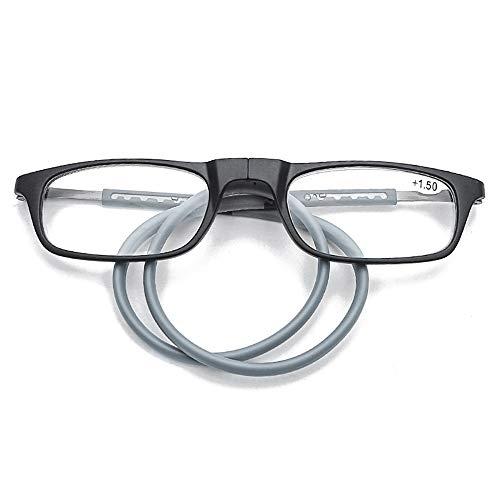 LDFZ Reading glazen magnetische leesbril, TR90-frame, draagbare hals, telescopische poten, verstelbare veerscharnier (rood/grijs/zwart)
