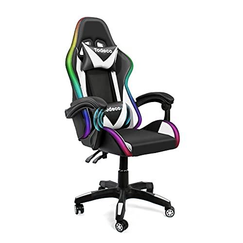 Todeco Gaming Sedia Massaggio con Luci A LED PC Sedia Racing da Gioco Ufficio Ergonomica con poggiatesta e cuscino lombare Massaggio Girevole a 360 °Schienale e Altezza Regolabile, bianco