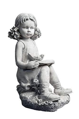 gartendekoparadies.de Massive Steinfigur Mädchen mit Vogel Kinderfigur aus Steinguss frostfest
