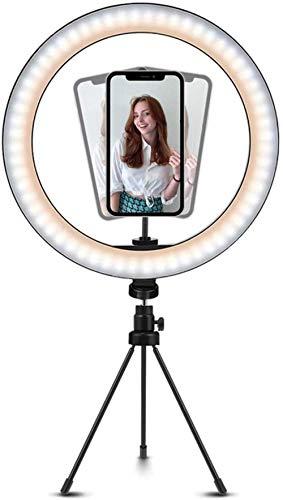 Anillo De Luz Led De 10 '' con Soporte para Teléfono con Soporte para Trípode, con 3 Modos De Luz Regulables Y 10 De Brillo para Youtube Tiktok Video, Transmisión En Vivo, Selfie