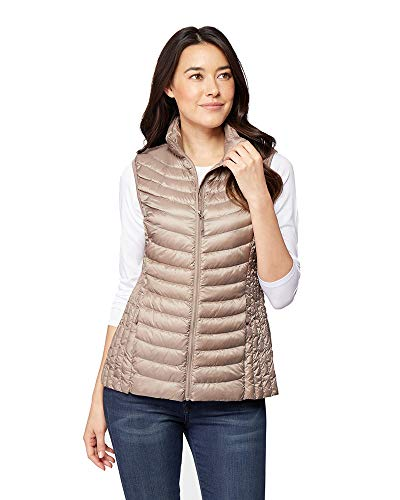 32 DEGREES Womens Ultra-Light Down Packable Vest, Taupe, Size Medium