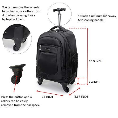 Racini mochila de nailon con ruedas, resistente al agua, mochila de viaje, equipaje de mano con cremalleras antirrobo