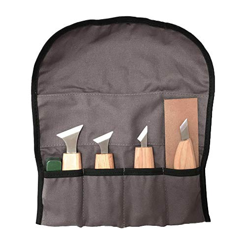Jyeep Wood Carving Tools Kit 7 in 1 Wood Carving Tools Set Wood Sculpture Tool Includes 4 Carving Knife, Grinding Wax, Grinding Knife Leather and Cloth Bag