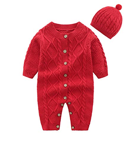 JooNeng Baby Newborn Cotton Knitted Sweater Romper Longsleeve Outfit with Warm Hat Set (3-6 Months, Red)