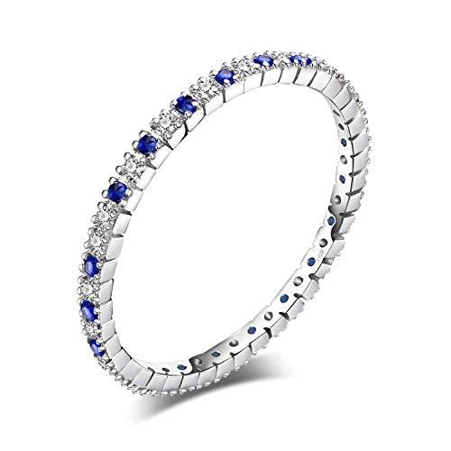 JewelryPalace Anillos Mujer Plata Espinela Azul Creado, Anillos de Compromiso Plata de ley 925 Mujer Chapado en Oro, Promiso Anillo Mujer Alianzas Boda, Aniversario, Joyería Personalizada