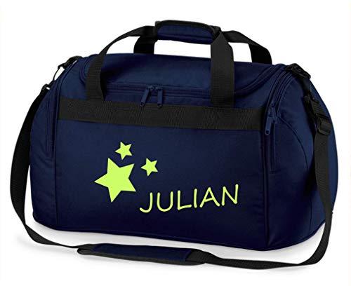 Kindersporttasche Junge & Mädchen | Motiv Sterne & Namen-sdruck personalisiert & Bedruckt | Reisetasche Sporttasche mit Namen Kindertasche Tragetasche zum Umhängen für Kinder