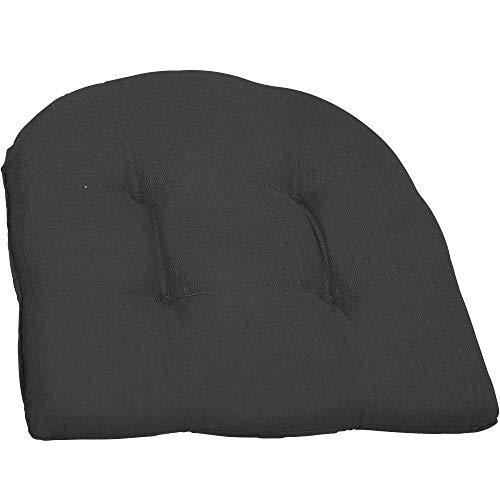 Beo Sitzkissen Stuhl 41x41 Halbrund   Atmungsaktives Sitzkissen Gartenstuhl Made in EU   UV-beständiges Sitzpolster Gartenstuhl   Stuhlkissen Outdoor waschbar   Sitzkissen Bank in Dunkel-Grau
