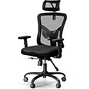 ERGONOMIC DESIGN - The ergonomic office chair backrest mimics the shape of the human spine, providing the perfect support for your back and neck, allowing you to maintain the correct sitting posture and ease pressure & pain on the back for everyday u...