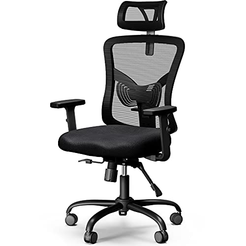 NOBLEWELL Ergonomic Office Chair High Back Mesh Computer Chair with Lumbar Support Adjustable Armrest, Backrest and Headrest