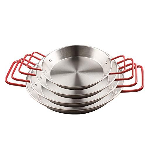 Poêle à paella avec 2 poignées acier inoxydable, 1 set contient 4 pièces, Lave-vaisselle, Respectueux de la nature - Cuisinez des mets espagnols,Silver,4pieceset