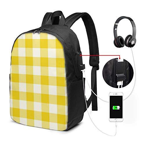 Lawenp Mochila para portátil de Viaje con diseño de Cuadros Vichy de Color Amarillo limón, antirrobo de Negocios, Delgada, Duradera con Puerto de Carga USB, Mochila para Ordenador de la Escuel