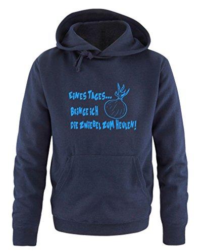 Comedy Shirts - Sweat à capuche pour homme - Avec capuche, poche kangourou, manches longues, pull imprimé. - Bleu - XXL