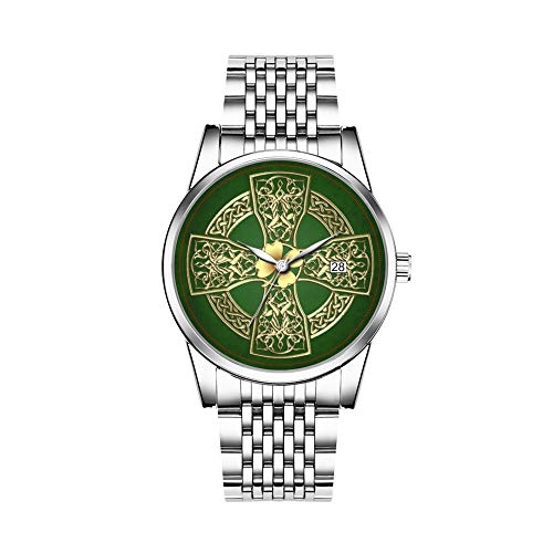 Christmas Watches Men's Fashion Japanese Quartz Date Silver Stainless Steel Bracelet Watch Gold Irish Celtic Cross & Shamrock Watch