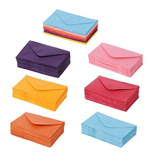 Manyo Retro-Briefumschläge, Mini-Format, buntes Papier, für Hochzeit, Party, Einladungen, Grußkarten, als Geschenk, 50 Stück 10x6cm/3.94\'\'x2.36\'\' Couleur mélangée